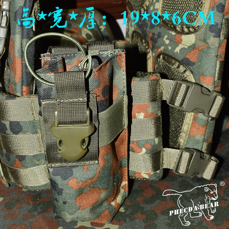 Bolsa de Rádio Flecktarn Militar Poliéster Oxford Molle Bolsa Tático Interfone Camuflagem Garrafa Água 1000d