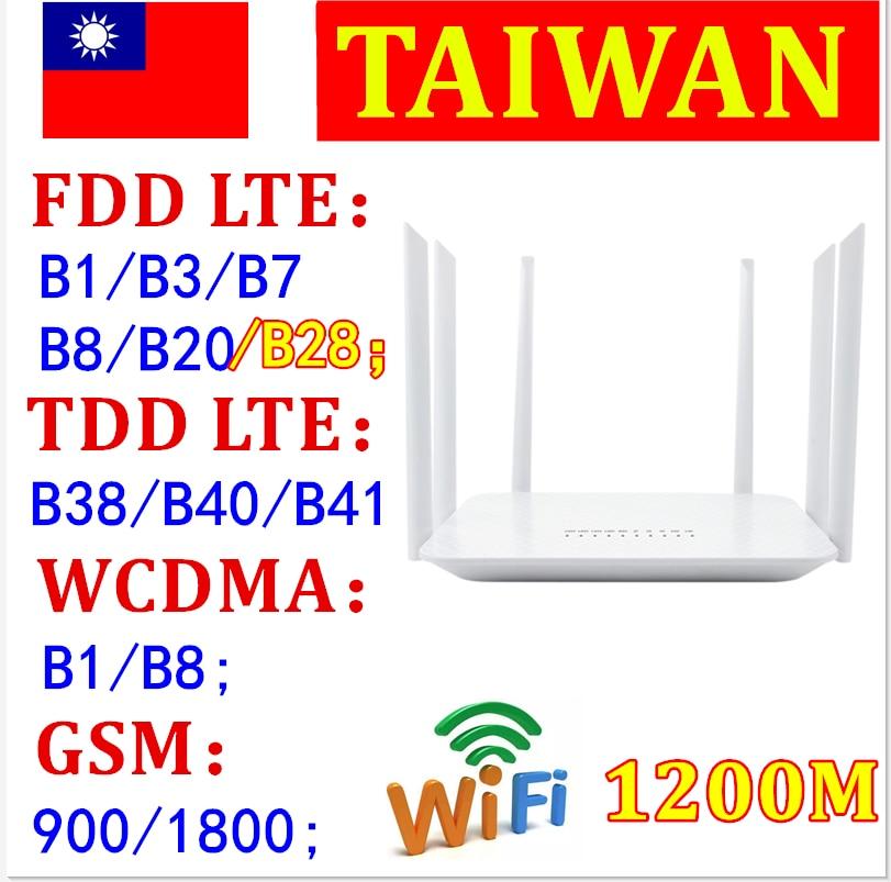 SIM Card Slot 4G LTE High-Speed Router 1200Mbps Gigabit Wifi Router Wireless Repeater Dual band 2.4Ghz+5G 1WAN+4LAN Gigabit Port