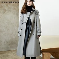 zurichouse temperament british style x long trench coat for women double breasted female windbreaker 2021 fall winter new