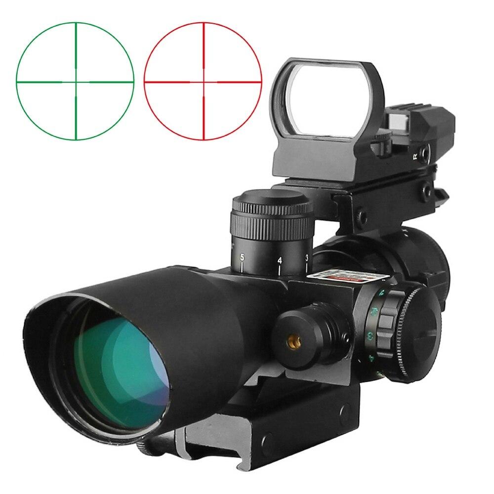 Táctico 2,5-10x40 reflejo holográfico de Vista rojo verde Mil-dot crossshair pistola de aire caza mira óptica iluminada Rifle alcance