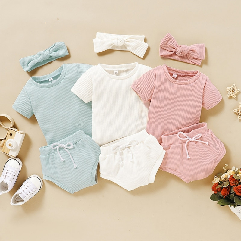 cute baby summer clothing set 2019 new cotton short sleeved striped shirts shorts toddler baby clothes kids outfits sy f192210 3pcs Infant Baby Boy Clothes Set Summer Baby Girl Toddler Short Sleeved T shirt+Shorts Pants Hairband 0-3T Kids Outfits Suits