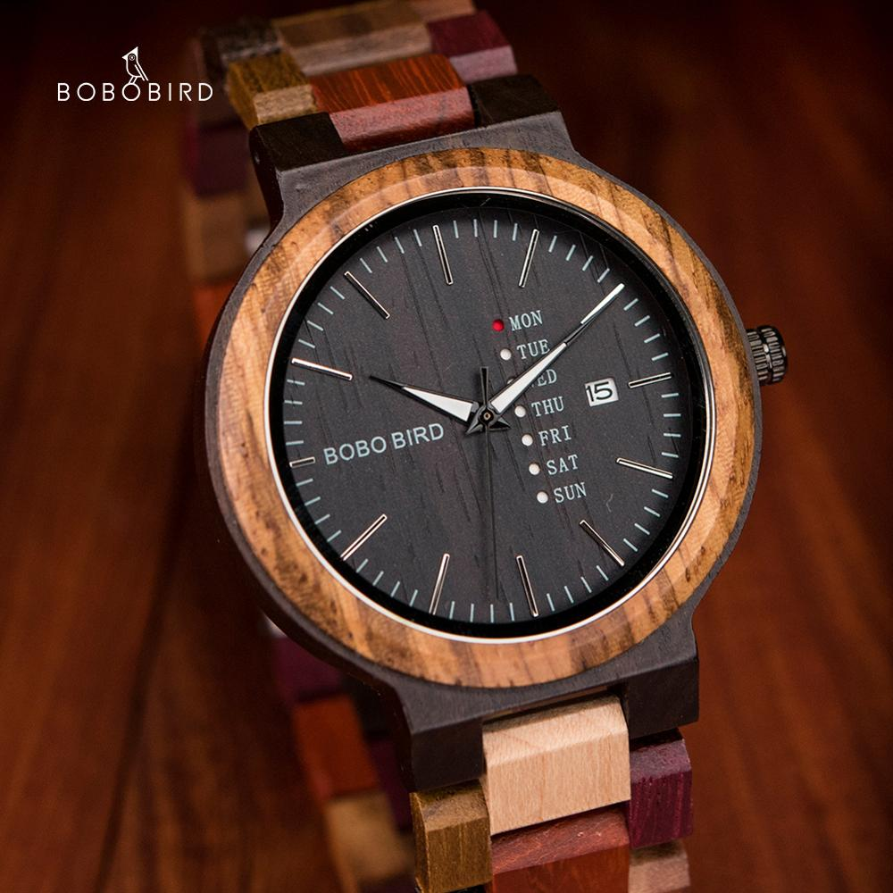 BOBO BIRD Male Wooden Multifunction Wrist Watch Auto Date Week Display Fashion Color Band relogios masculinos Timepiece for Men