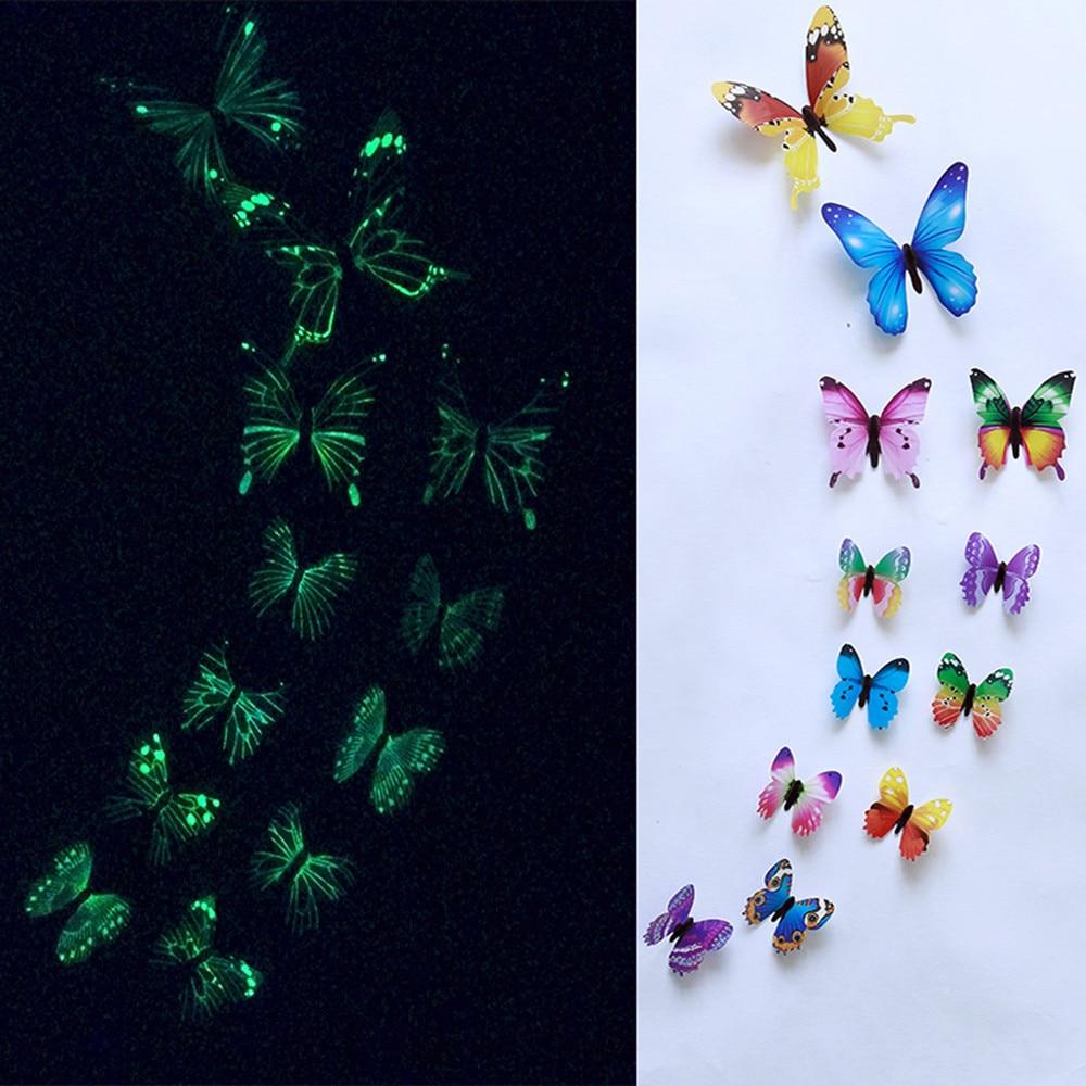 1 Set 12pcs Luminous Butterfly Design Decal Art Butterflies Wall Stickers Room Magnetic modern Home Decor room decoration A3086
