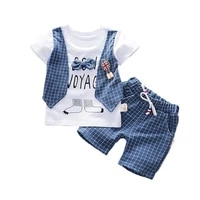 new summer children boys girls clothes baby cotton letter t shirt plaid shorts 2pcsset toddler fashion clothing kids tracksuits
