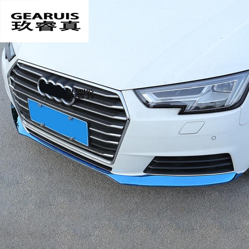 Parachoques delantero de estilo de coche Borde inferior tiras de acero inoxidable para Audi A4 B9 cabeza decoración cubre pegatinas accesorios de automóviles