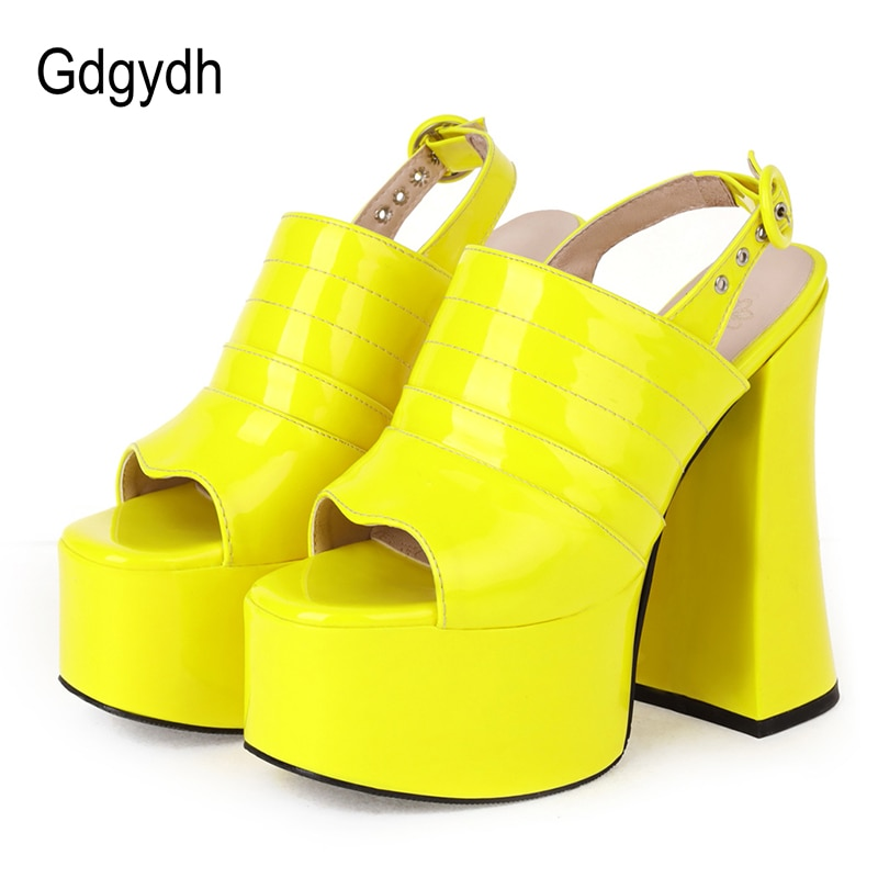 Gdgydh-حذاء نسائي بنعل سميك ومفتوح من الأمام بكعب عالٍ ، حذاء نسائي عالي الجودة ، مقاس 46