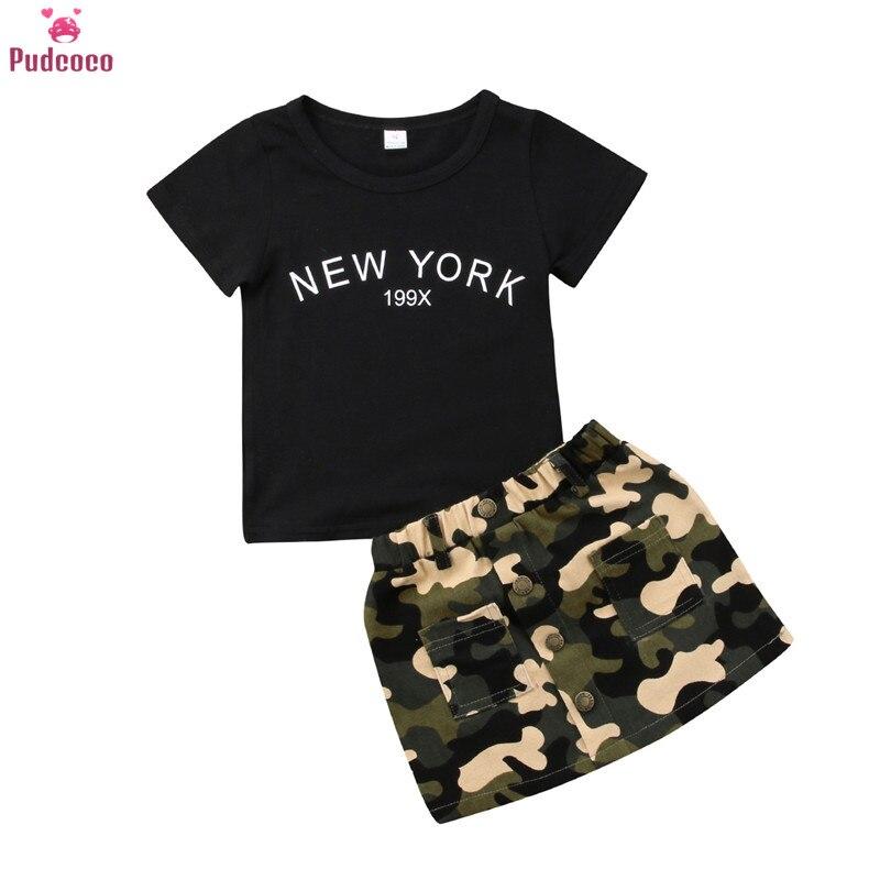 Conjunto de 2 piezas de ropa de verano para niños pequeños, conjunto de ropa negra para niñas, camiseta de manga corta y faldas de camuflaje, conjuntos de 2 piezas