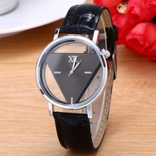 Personality Triangular Dial Women's Wrist Watch Womens Unique Hollowed-out Dial Fashion Watch Implie