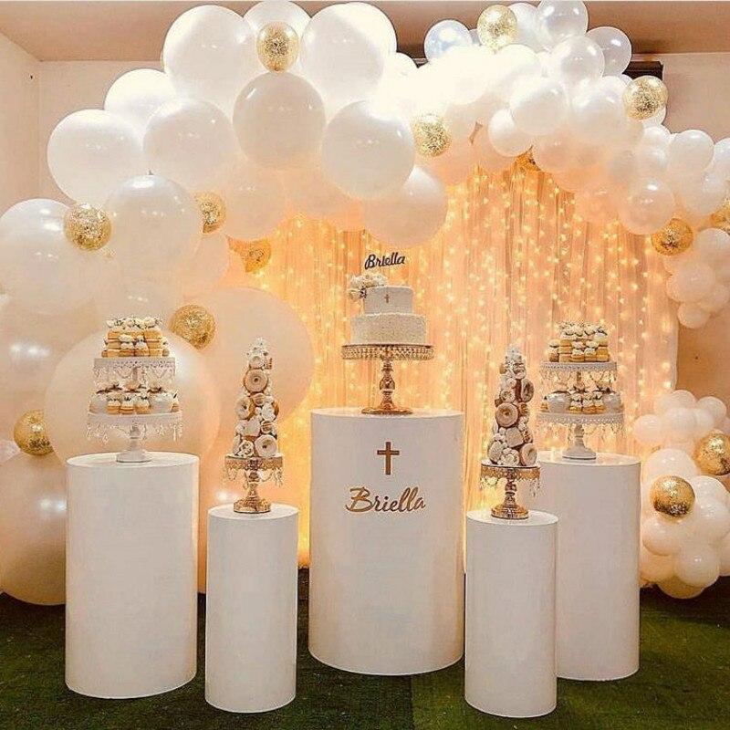 Mesa de exhibición de cilindro lacado de hierro forjado, mesa de postre, diseños de escenas de boda, Hotel, centro comercial, camino de bienvenida abierto