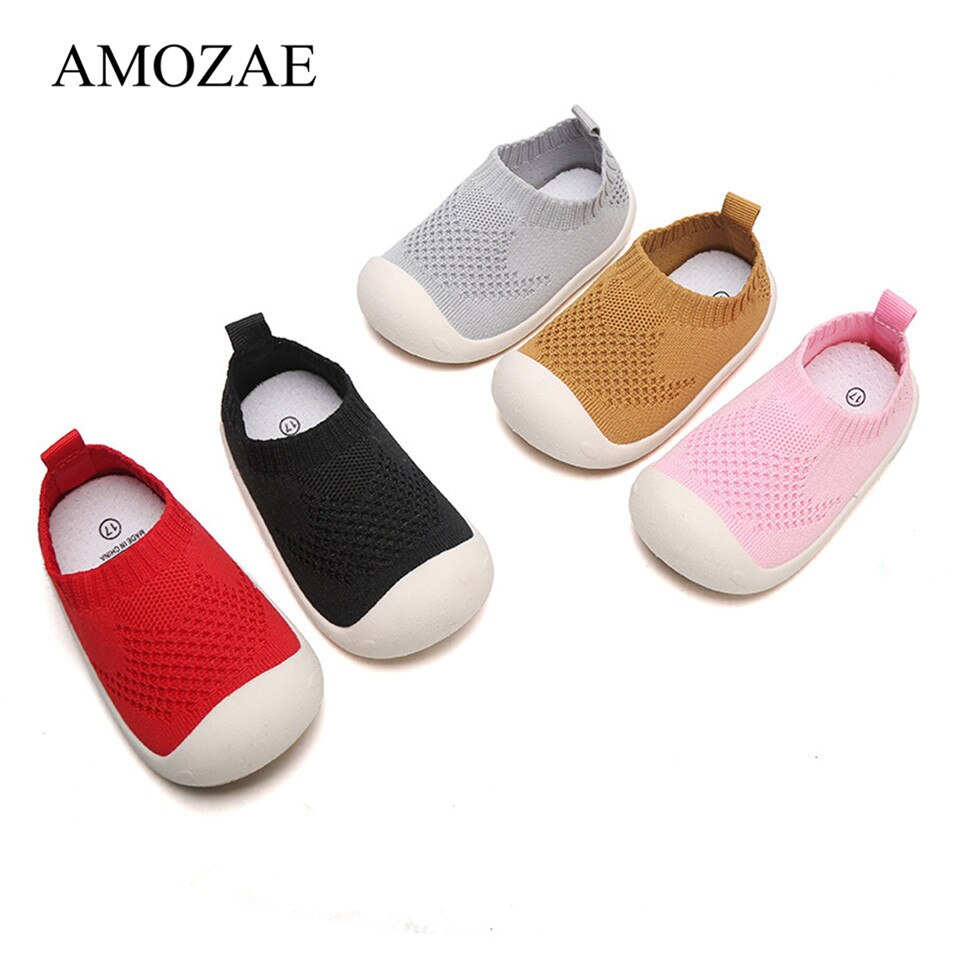 Zapatos de bebé niño niña niños zapatillas casuales Color caramelo corte tela de algodón transpirable Fondo suave zapatos antideslizantes para niños