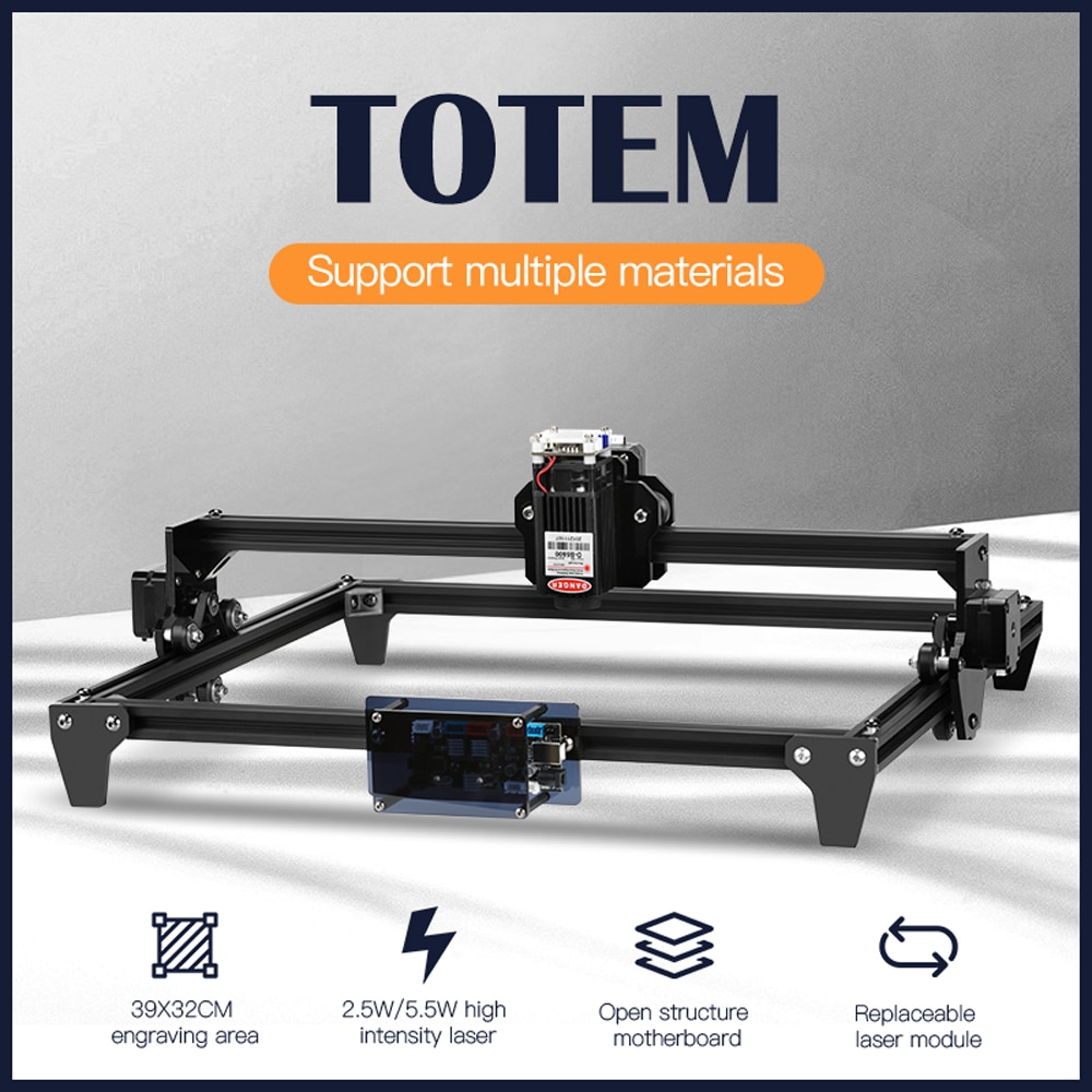 Twotrees Totem CNC Laser Engraving Machine 2.5W 5.5W DIY Desktop CNC Laser Engraver Cutter Engraving Wood Cutting Machine Router