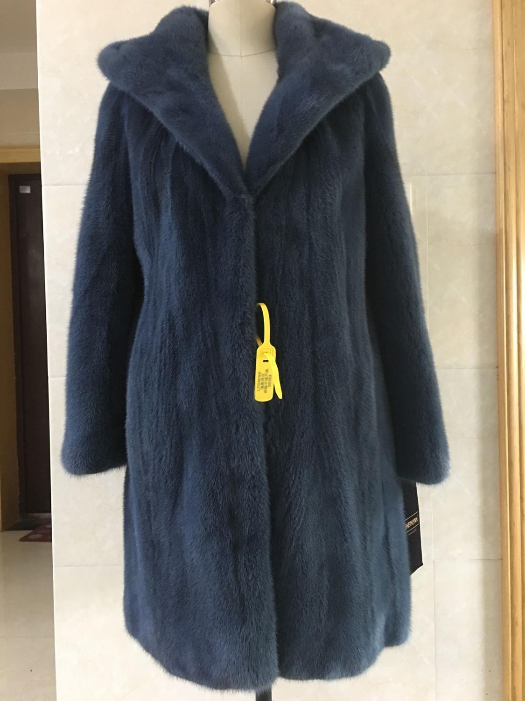 معطف فرو المنك الطبيعي الحقيقي ، مقاس كبير 5xl ، غطاء رأس ، لون أزرق داكن ، موديل جديد 2019