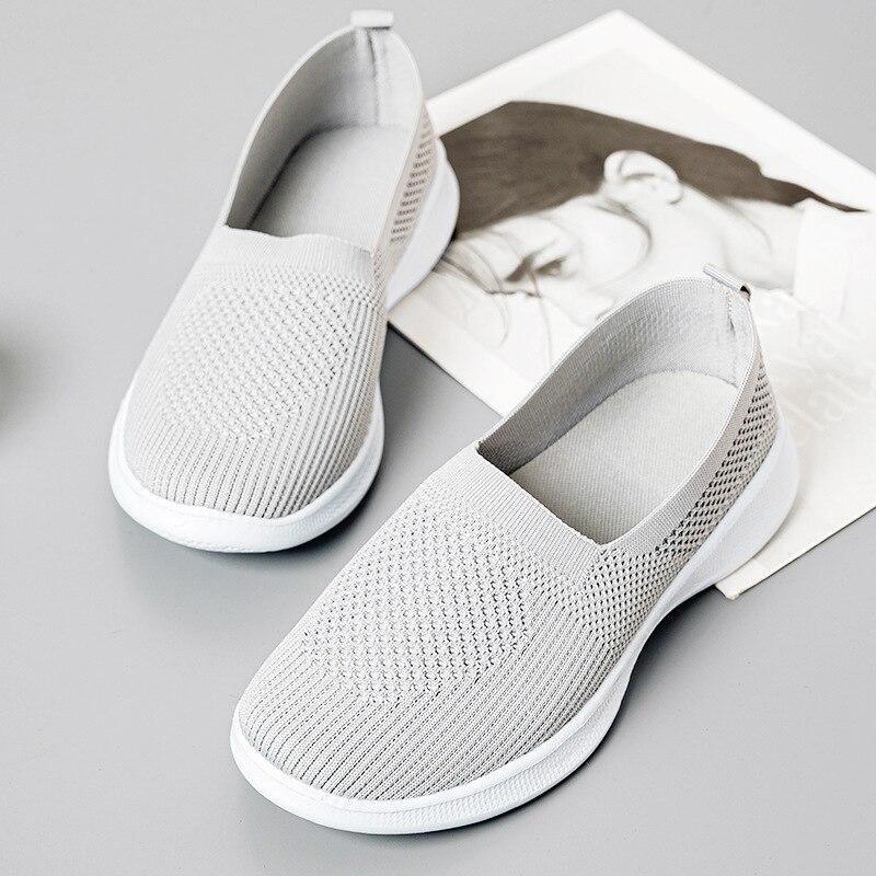 Zapatillas de correr informales para mujer, zapatos planos sin cordones de talla...