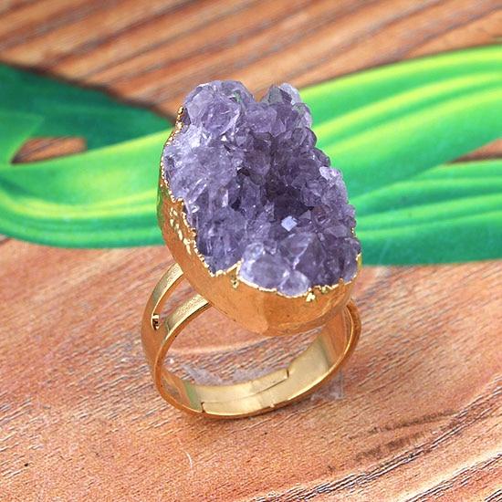 Xsm natural ametistas anéis de dedo forma irregular roxo cristal druse cluster anel ajustável para festa casamento jóias presentes