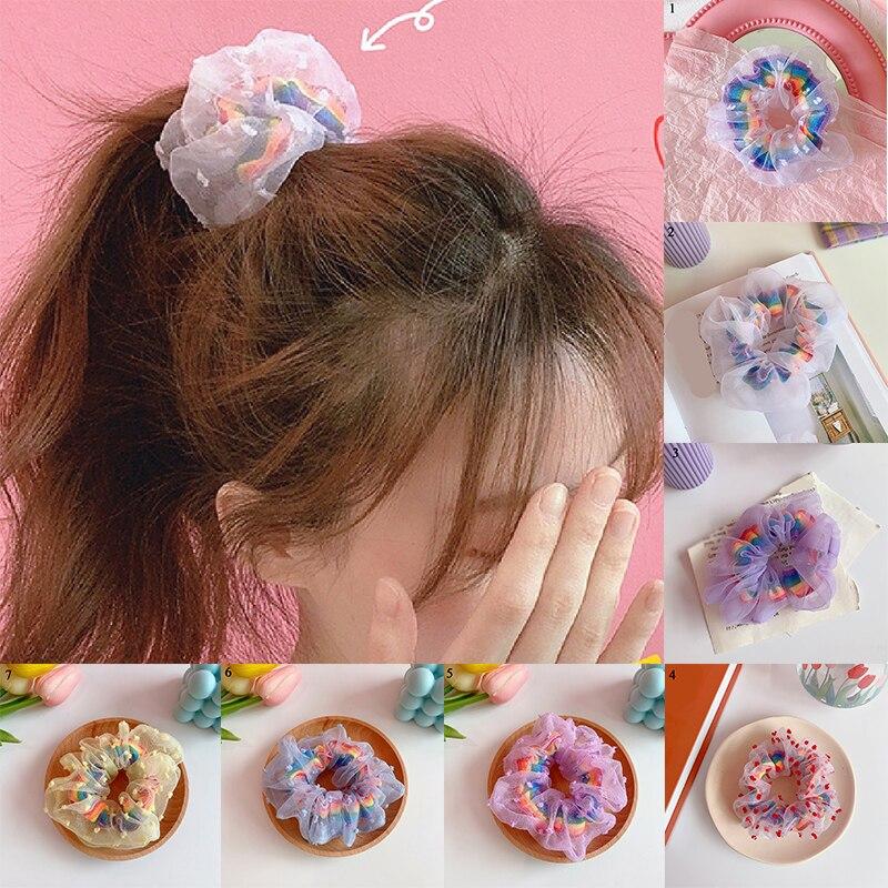 Sweet Mesh Scrunchies Hair Ties Hair Bands Scrunchie Hair Accessories Big Size Fashion Headwear Embroidery Flowers Women's Bands