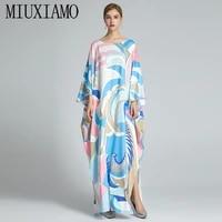 miuximao 2021 bohemian plus size dress o neck batwing sleeve maxi dress women elastic silk floor length new fashion kaftan dress