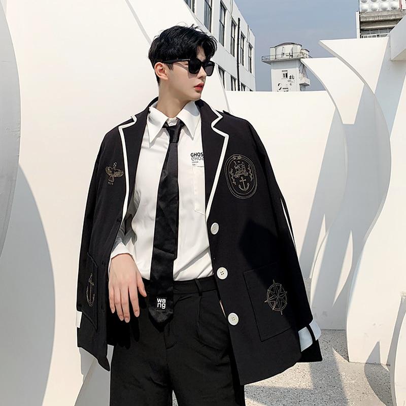Otoño e Invierno estilista pieza celebridad web bordar escuela viento pequeño traje marea masculino suelto y grueso traje de Estudiante