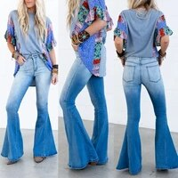gradient color flared jeans vintage high waist stretch slightly straight pants fashion slim worn wide leg womens trousers wild