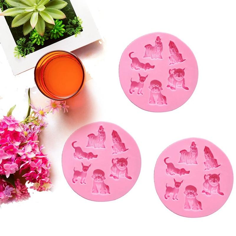 Cubitos de hielo de silicona con diseño de animales bonitos para perros, bandeja de Chocolate, galletas, Fondant, cupcakes, molde antiadherente para hornear y hornear
