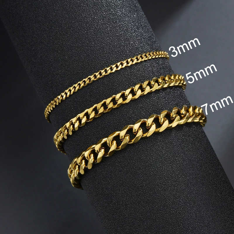 Sifisrri Punk Men 3 5 7mm Stainless Steel Curb Cuban Link Chain Bracelets Black Gold Solid Chains Unisex Wrist Jewelry Gift Chain Link Bracelets Aliexpress