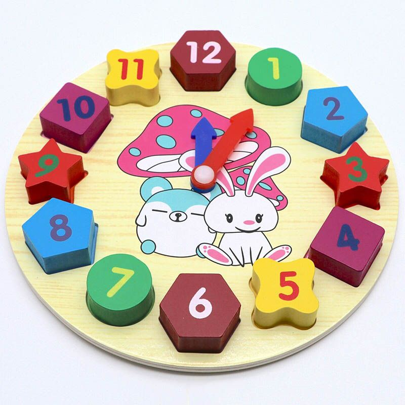 Wooden Puzzle Play Toy Educational Learning colorful Sorting Clock Toddlers Kid Baby Funny Cute Plaything Intelligence Gifts
