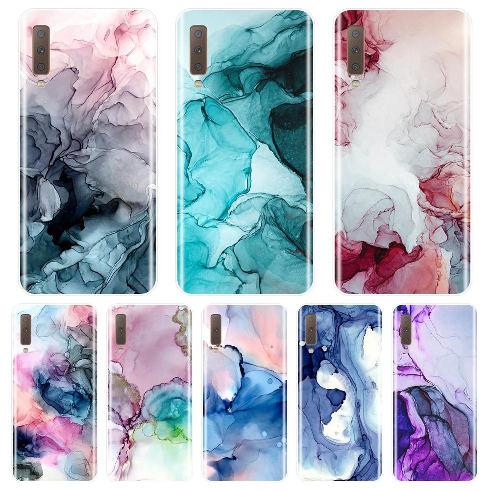 Funda de teléfono para Samsung Galaxy A3, A5, A7, 2016, 2017, cubierta trasera de silicona suave con diseño de mármol para Samsung Galaxy A6, A8 Plus, 2018, A5 y A7