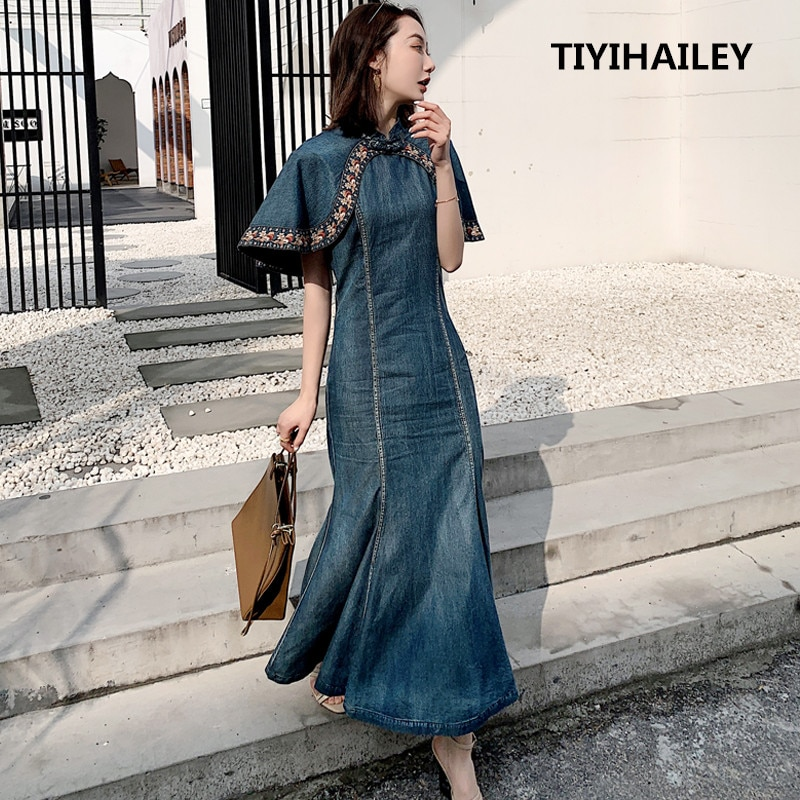 TIYIHAILEY, Envío Gratis, moda S-XL, capa con manga, pantalones vaqueros para mujer, vestidos largos bordados a media pantorrilla, vestidos de estilo de sirena
