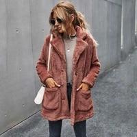 autumn faux fur coat women teddy coat ladies fluffy winter coat women long sleeve plush warm teddy jacket female
