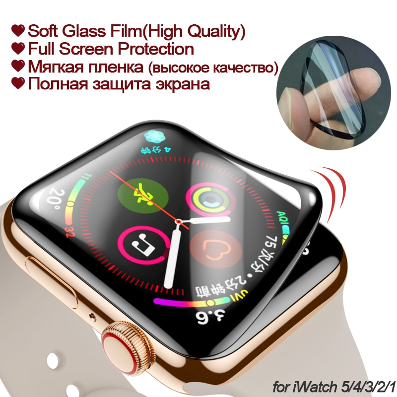 100d curved tempered glass for apple watch series 38 40 42 44 38 42mm hd screen protector film for iwatch 5 4 3 2 1 full glue Screen Protector for apple watch 6 5 4 40mm 44mm 3D Full Curved PET Soft Tempered film for Iwatch 3 2 38 42mm (Not Glass)
