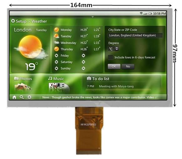 7size pantalla LCD (800*480) (164*97mm) 40 mm cable plano 50 pines) para Tablet PC Lattepanda Raspberry Pi Banana Pi