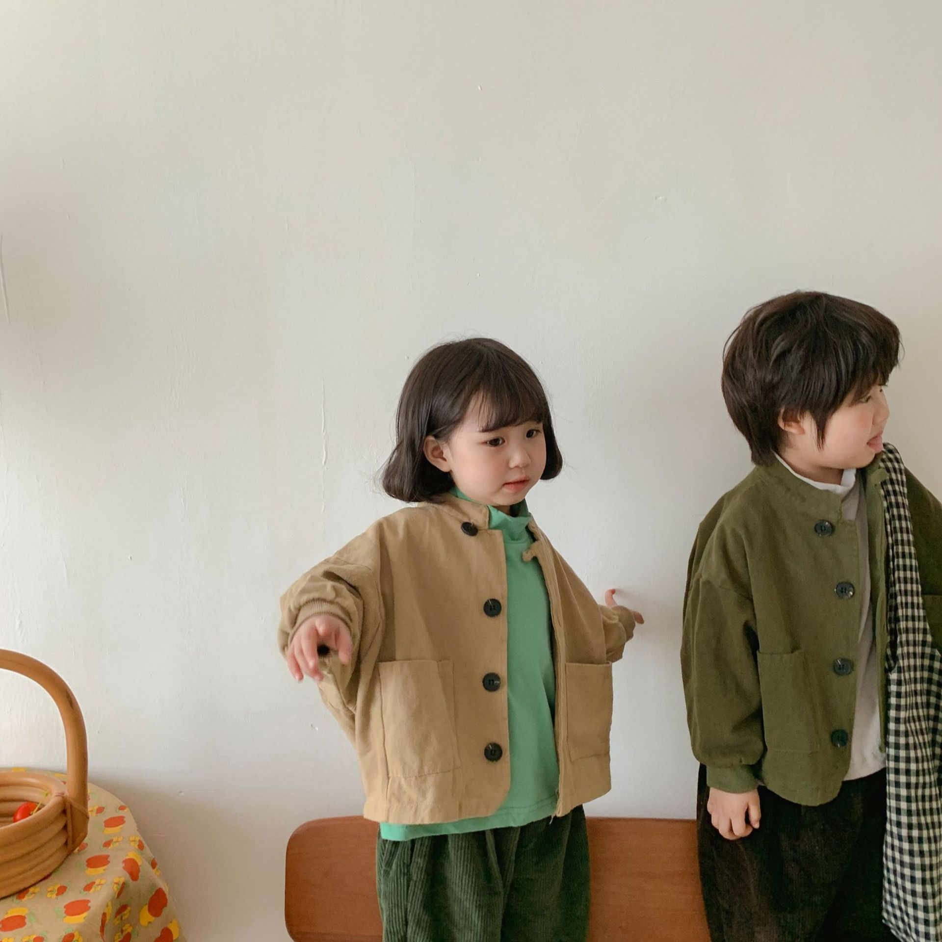 Korean Children's Clothing Kids' Overcoat Boys and Girls Baby New Cardigan Korean Style Loose Pure C