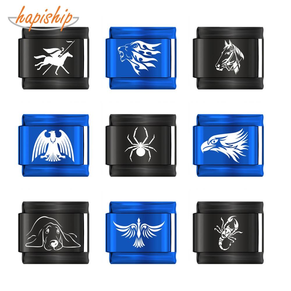 Hapiship 2019 Original Daisy Spider Horse Dog Scorpion Leo Eagle Charm Fit 9mm Bracelet Stainless Steel Jewelry Making DJ151-B