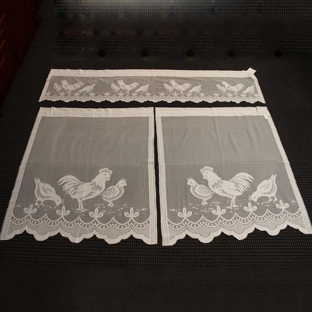 Semi sombreamento cortinas gaze decoração para casa padrão de frango painel luz fluxo valances cortina renda sólida cozinha janela tela