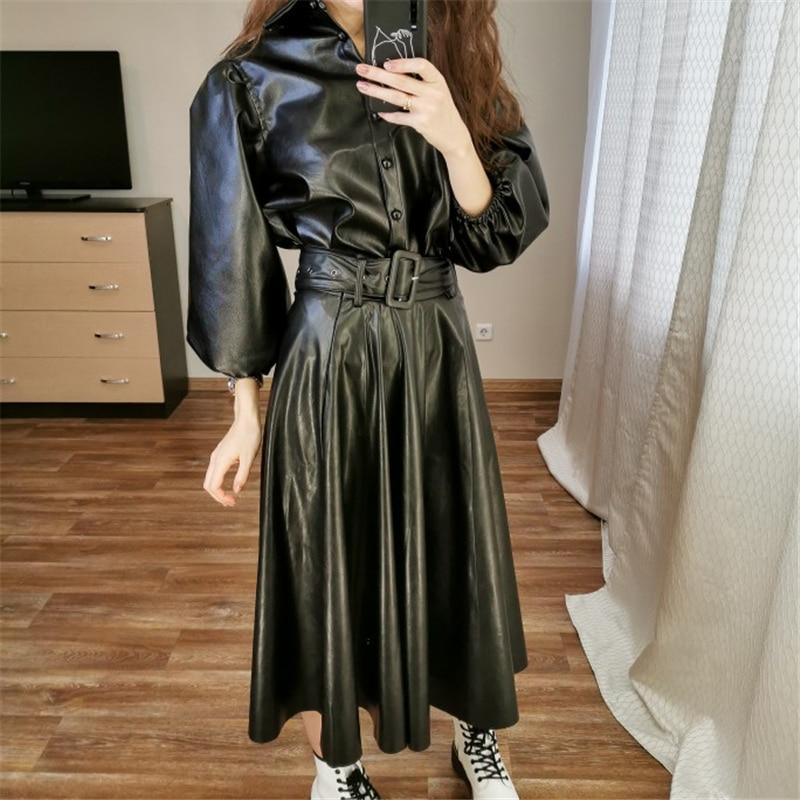 Fashion Za Women's Skirt 2020 Vintage Chic High Waist Black Leather Skirt A Line Pleated Female Basic Office Wear Midi Skirts