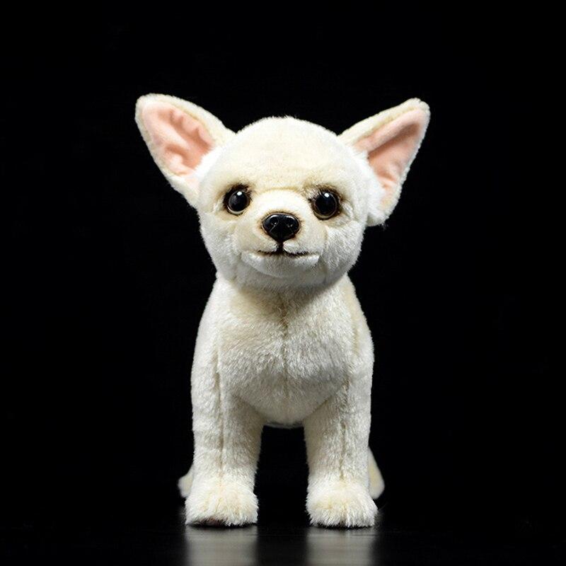 25 cm realista perro Chihuahua de pelo corto juguetes de peluche realista amarillo perros rellenos de juguete Animal suave juguetes para niños