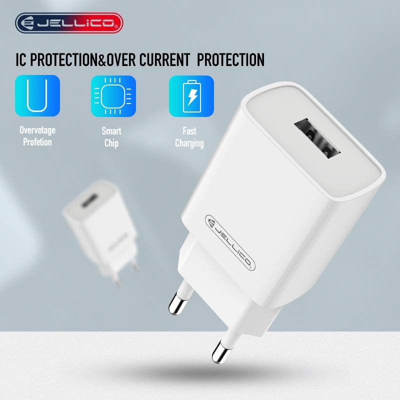 Cargador rápido Jellico 3,0, adaptador de pared con cargador USB para iPhone, iPad, Samsung, Xiaomi, teléfonos móviles QC3.0, cargador rápido de viaje