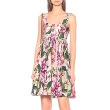 CBAFU Floral Print Summer Spaghetti Strap Dress Petal Buttons Designer Party Mini Dress Vintage Runway Sundress Plus Size F495