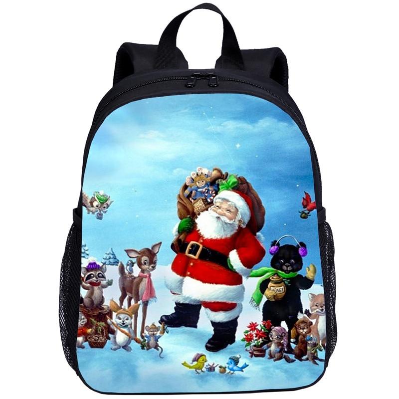 Мини-рюкзаки для детей, мальчиков и девочек, Забавный Рождественский Санта-Клаус, 3D печать, рюкзак для детского сада, школьные сумки, ранцы, ...