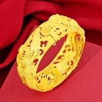 retro hollow 999 yellow gold dragon phoenix wedding bracelet bangles for women luxury bridal festive bracelet fine jewelry gifts