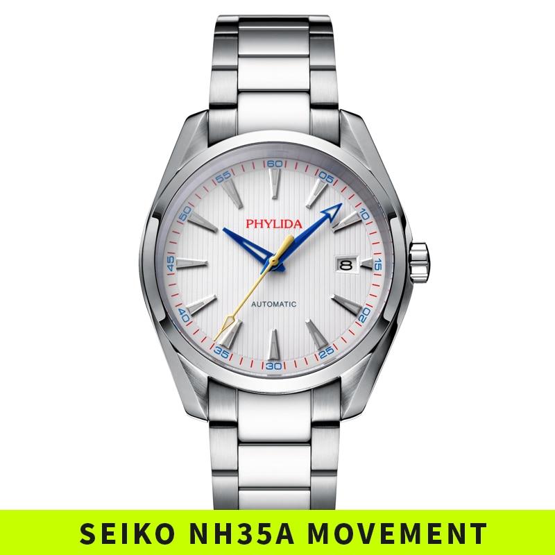 Reloj Automático impermeable de 100M para hombre, reloj de pulsera mecánico de lujo de moda NH35A, reloj de acero inoxidable blanco AQUA