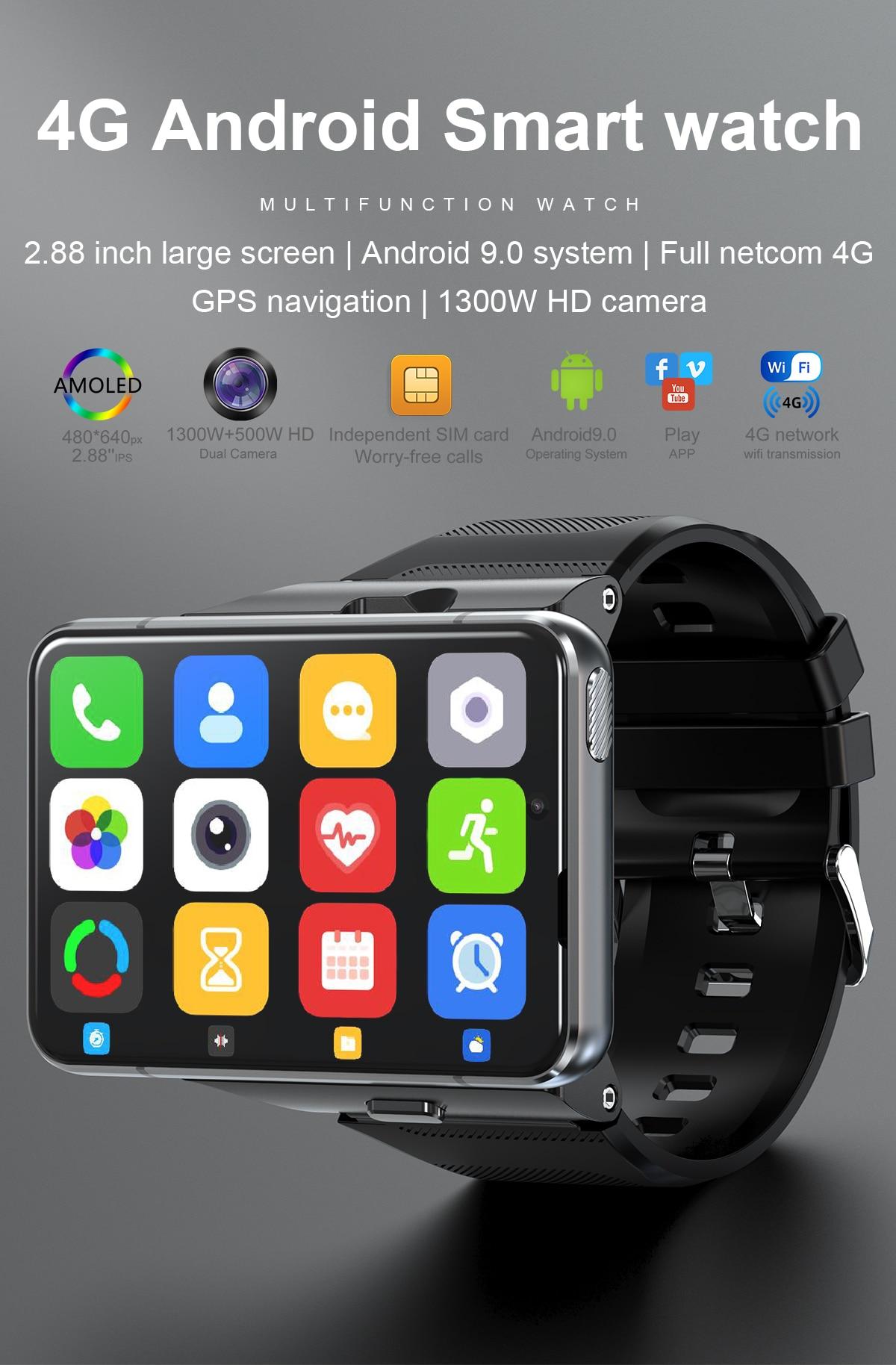 S999 ساعة ذكية 2.88 بوصة 4G ساعة ذكية أندرويد 9 64gb بلوبوث 13MP كاميرا نظام تحديد المواقع ساعة واي فاي ارتداء Os جوجل