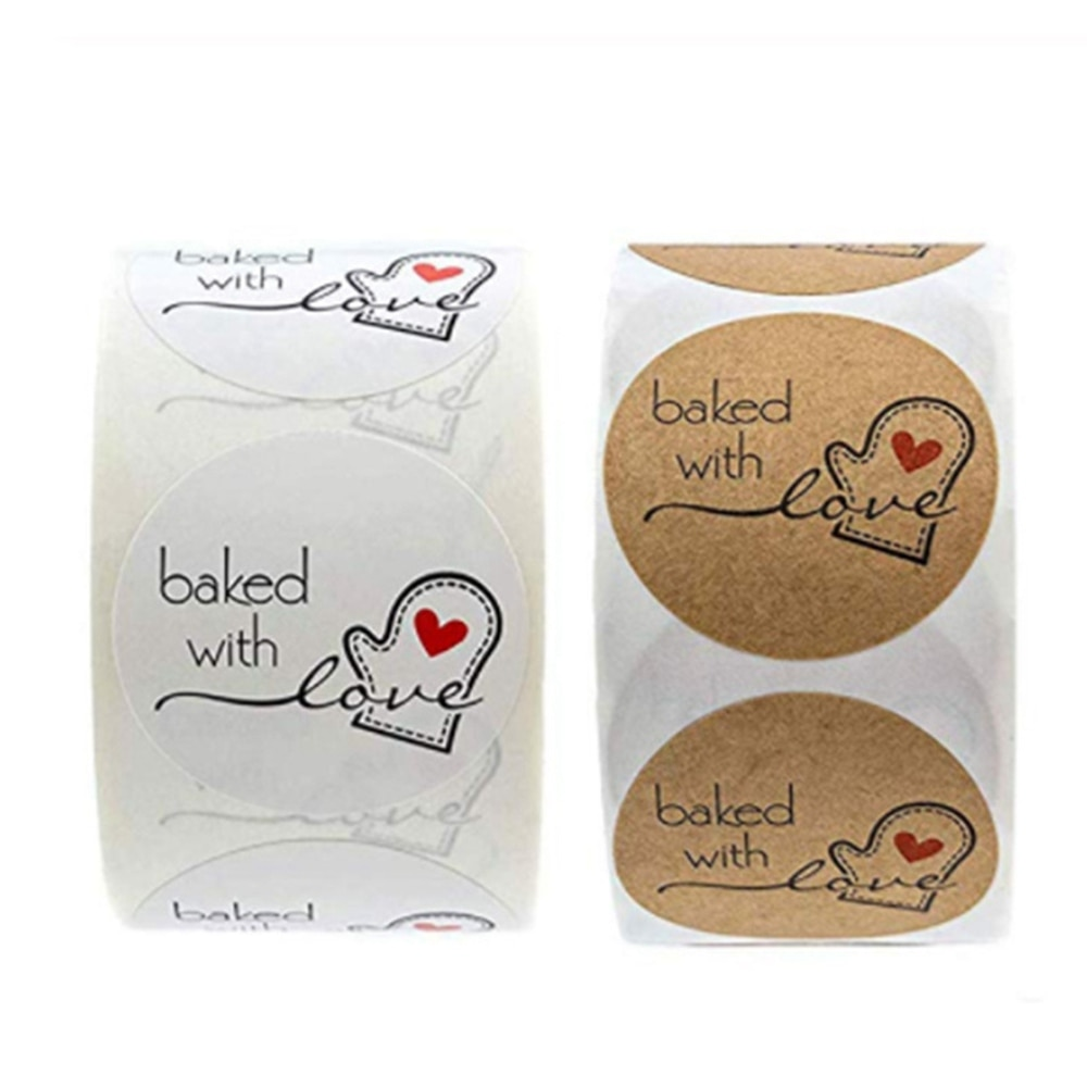 500pcs baked with love glove heart label for Scrapbook Good Cute sticlers Special Day Favors labels Mailing Supplies