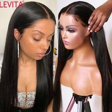 LEVITA-Peluca de cabello humano liso de 30 pulgadas para mujer, postizo de encaje Frontal en forma de T, pelo brasileño predespuntado