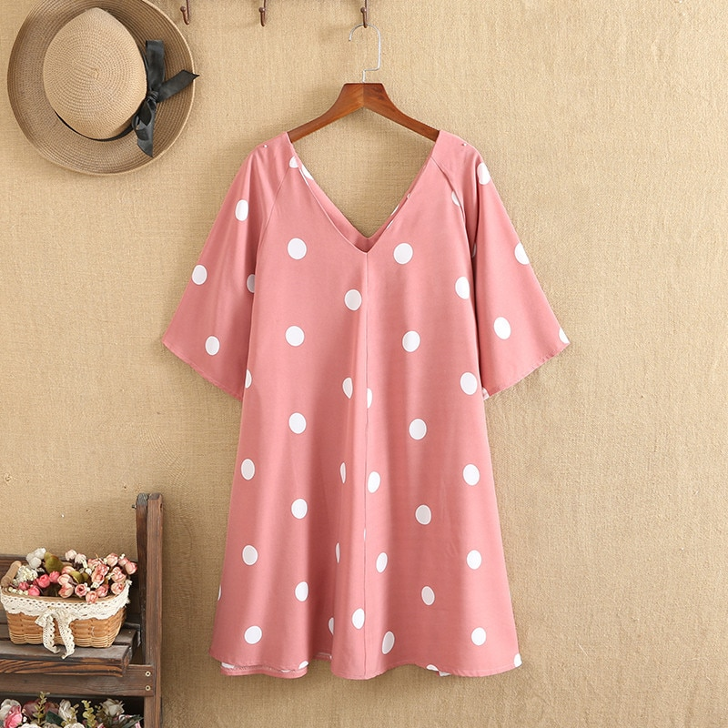 Plus Size Dresses V-Neck Polka Dots Full Skirt Short Sleeves Knee Skirt Large Size Summer For Clothes Under 220 Pounds Fatwomen