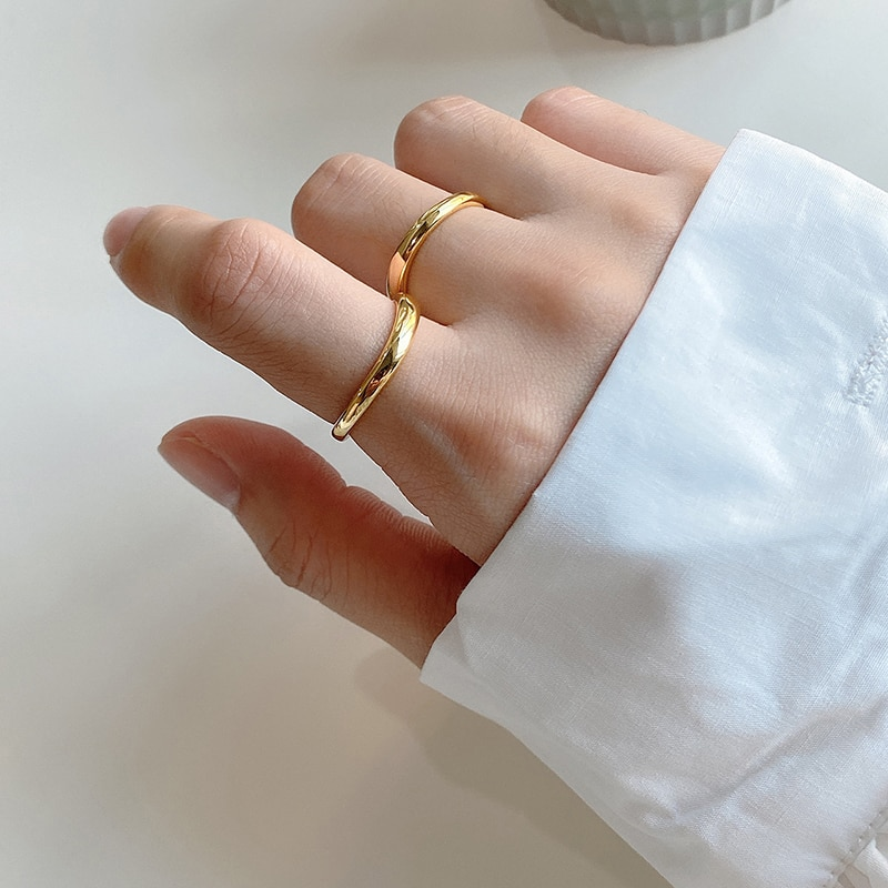 GHIDBK Изящные Серебряные Кольца изогнутой формы, женские минималистичные Простые Кольца, эффектные геометрические кольца, эффектные ювелирн...