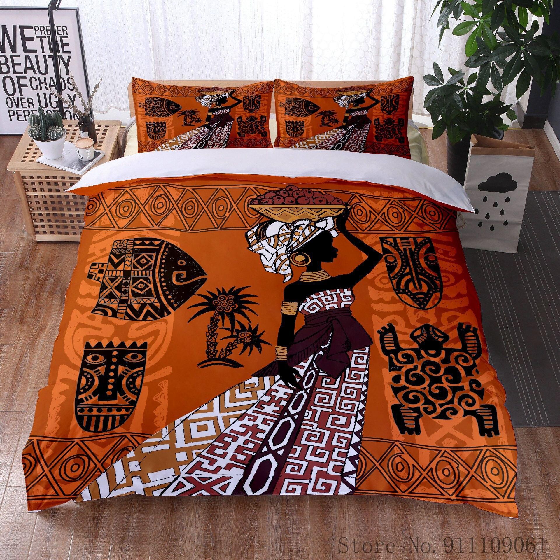 طقم أغطية سرير بنمط عرقي للرقص ، غطاء وسادة وغطاء لحاف من البوليستر ، طقم سرير مزخرف لغرفة النوم ، منسوجات منزلية