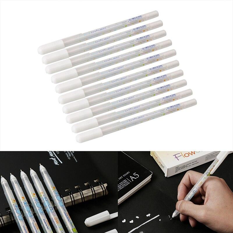 1 pc 0.8mm tinta branca gel caneta gancho branco forro canetas assinatura marcador de papel preto highlighter reviser dropshipping