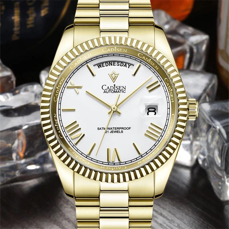 2021 NEW CADISEN Men Mechanical Watch Top Brand Luxury Diver Sport Stainless Steel Waterproof relogio masculino