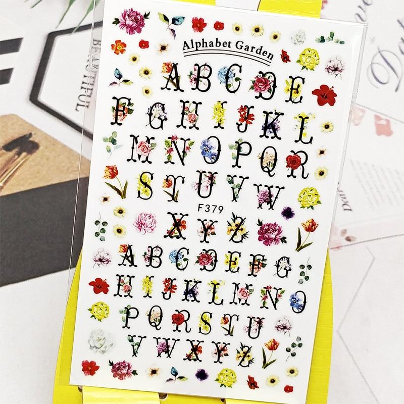 Pegatinas 3D para uñas, pegatinas con diseño de letras en inglés y flores para decoración de uñas, pegatinas deslizantes para manicura, accesorios para decoración de uñas