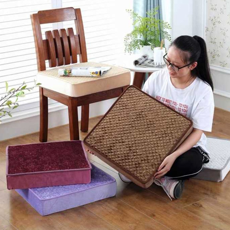 Asiento de terciopelo europeo cojín antideslizante alfombra de suelo asiento de conductor acolchado sofá comedor almohadas sillas cuadradas 45x45 cojín de Tatami para exteriores